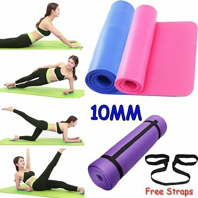 Yoga Mat Large Thick GYM Mats Pilates For Exercise Gymnastics W/Carry Strap 10mm