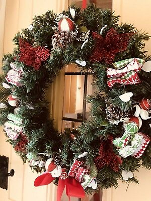 Luxury Christmas Door Wreath Bauble Sprays Poinsettias Satin Candy Stripe 40cm