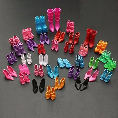 120pcs 60 Pairs Mix High Heel Shoes Boots F/ Barbie Doll Clothes Dress Kid Gift