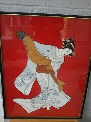 Japanese Large Silk Picture. Beautiful Colours And Condition. Height 71Cm. 55.5W