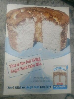 1954 Pillsbury Angel Food Cake Advertisement...nice colorful..free shipping.