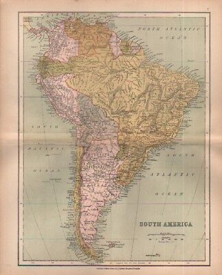 c1880 map of South America  by William Collins