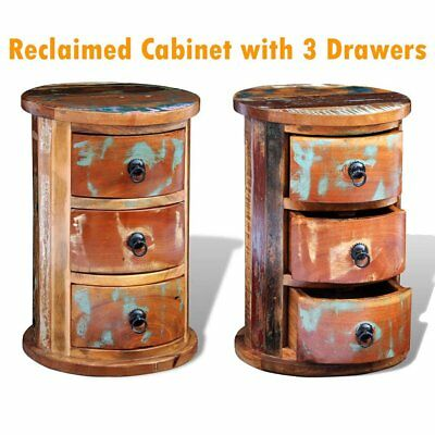 Reclaimed Solid Wood Round Cabinet w/ 3Drawer Vintage Rustic Antique Multi-color