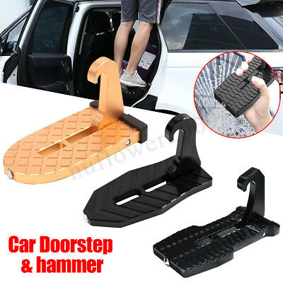 3 Types Car Doorstep Folding Ladder Hook Vehicle Foot Pedals w/ Safety Hammer