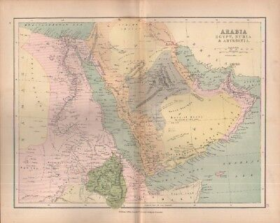 c1880 map of Arabia Egypt Nubia & Abyssinia  by William Collins