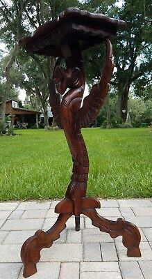 """Vintage winged griffin pedestal table hall stand mahogany RJ Horner style 35.5"""""""