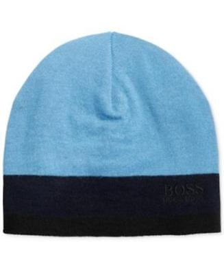 ff1098705fa06e HUGO BOSS MEN'S Logo Beanie Wool Blend Hat Scull Cap Blue Navy One ...