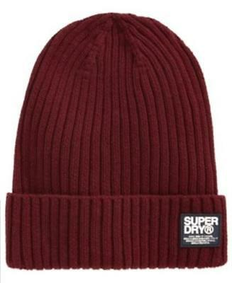 Superdry Wiseman Beanie Maroon Mens One Size New