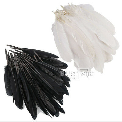 White/Black 50/100pcs Large Goose Quill Feathers 6-8 inches Wholesale Quality