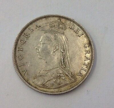 Antique 1887 Victorian Silver Florin/Two Shilling Coin