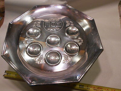 Passover Seder Plate - Holiday Pesach - Judaica Gift Jewish Hebrew- SilverPlate