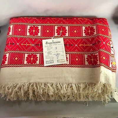 "Throw Wrap Folk Art Woven 65""x48"" Zagreb Bosnia 1970s Vintage Never Used"