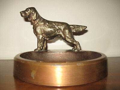 Vintage Solid Bronze Irish Setter Hunting Dog Ashtray