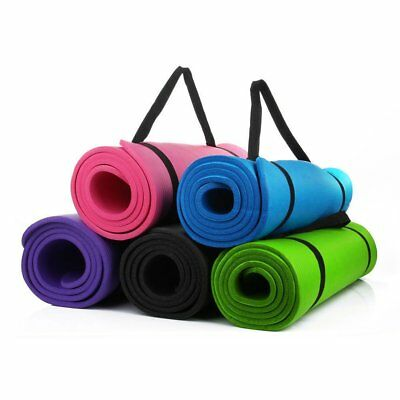 Yoga Mat 15mm Large Thick Pilates For Exercise Gymnastics with Carry Strap NBR