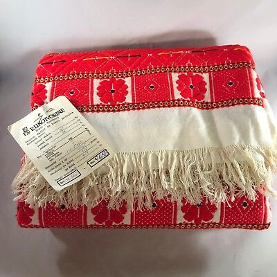 "Throw Wrap Folk Art Woven 48""x82"" Zagreb Bosnia 1970s Vintage Never Used"