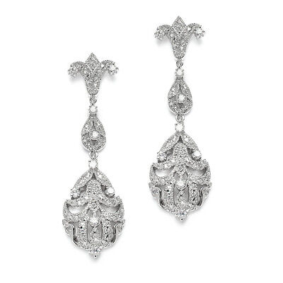 Mariell CZ Dangle Wedding Earrings for Brides, Platinum Plated Bridal Jewelry
