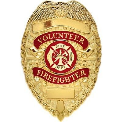 Volunteer Firefighter GOLD Badge Fire Department Shield Fire Fighter Fireman