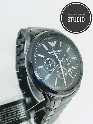 Emporio Armani Watch AR1451 Mens Black Ceramic Chronograph Ceramica