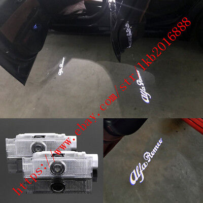 New 2x Logo LED Door Light Laser Projector For Alfa Romeo Stelvio Mito Giulietta