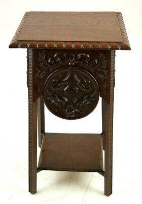 Antique Carved Oak Table, Table with Fold Out Shelves, Scotland 1890, B1316