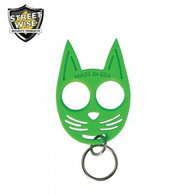 SET OF 3 My Kitty Self-Defense Cat Spike Strong ABS Plastic Keychain - Green