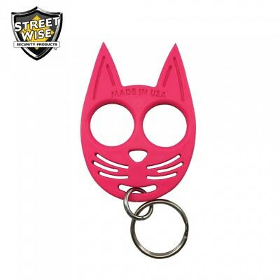 SET OF 3 My Kitty Self-Defense Cat Spike Strong ABS Plastic Keychain - Hot Pink