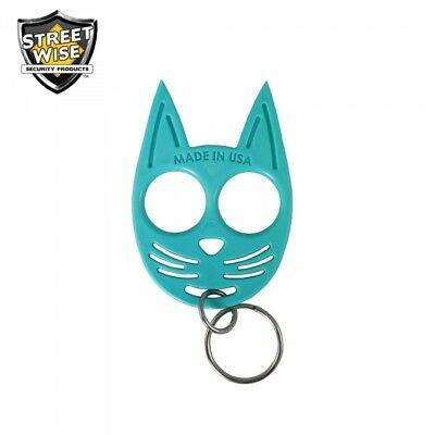 SET OF 3 My Kitty Self-Defense Cat Spike Strong ABS Plastic Keychain - Blue