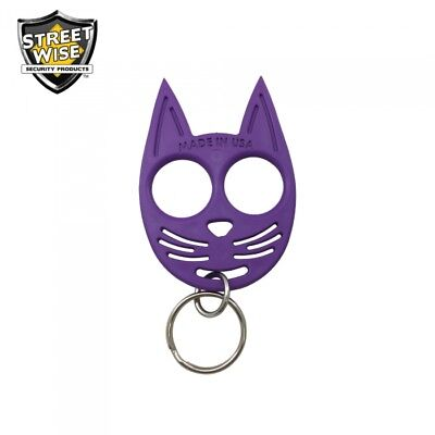 SET OF 3 My Kitty Self-Defense Cat Spike Strong ABS Plastic Keychain - Purple