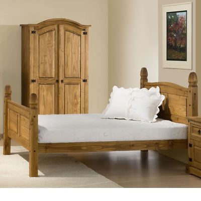 Corona Pine Light Wood Tone High Foot End Bed with 4 Mattress and 3 Size Options