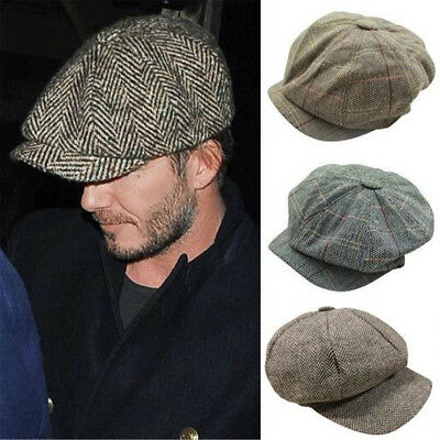 Men's Baker Boy Peaky Blinders Newsboy Flat Cap Herringbone Gatsby 8 Panel Hat