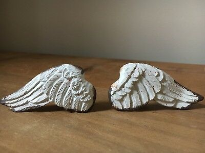 Antique White PAIR of Wings Drawer Door Knobs French shabby chic cupboard handle