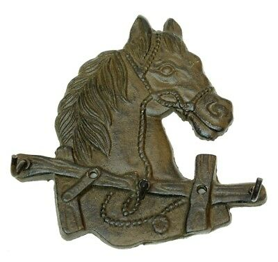 """Cast Iron Horse Head with Triple Hooks Wall Mounted 6x6"""" Western Country Decor"""