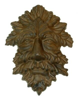 "Green Man Leafy Tree Man Solid Cast Iron 10"" Wall Plaque Sculpture"