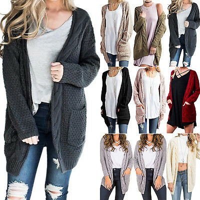 0cef7e4c3e2 Womens Winter Warm Knitted Cardigan Loose Outwear Long Coat With Pocket  Jacket