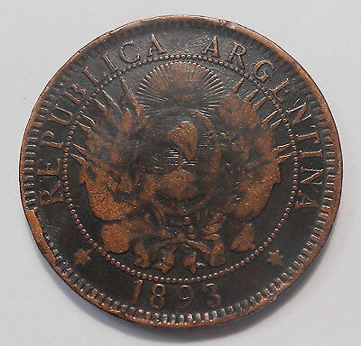 1893 Argentina 2 Centavos VG+ SCARCE Capped Liberty Head LOW Mintage Bronze Coin