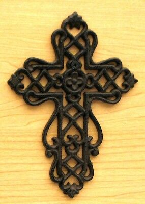 "Small Cast Iron Cross Interwoven Scrolls Fleury Design 7"" Christian Decor"