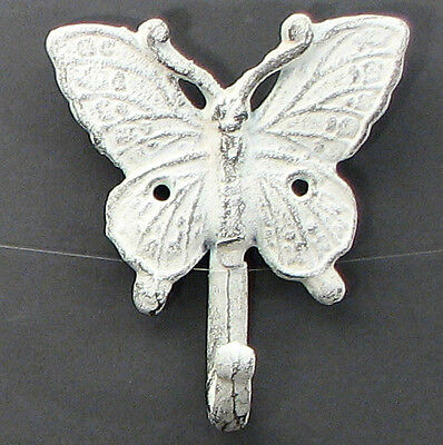 """SET OF 6 White Butterfly Cast Iron Antique-Style Wall Hangers Hooks 4-3/4"""""""