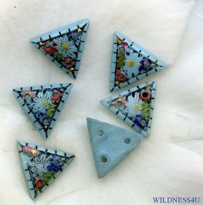 Blue VINTAGE PAINTED GLASS FLOWER BEADS Art Deco Czech 3 HOLE SEW ON BUTTONS