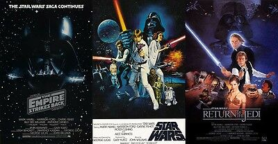 New Star Wars Classic Movie serial 1 2 3 Wall Set of 3 Posters 24x36 inch