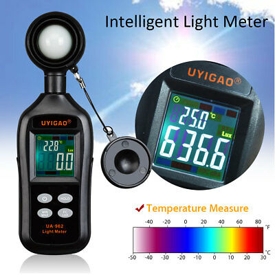 200000 Lux Light Meter Luminometer Brightness Luxmeter Temperature LCD Tester