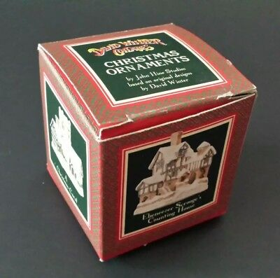 David Winter Cottages 1991 Christmas Ornament Scrooge's Counting House BOX ONLY!