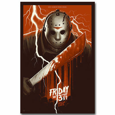 """Art Friday The 13th Horror Classic Movie Silk Poster -24x36"""" 27"""" P-491"""