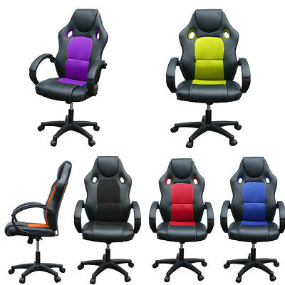 Executive Office Chair PC Desk Sports Racing Gaming Chair Adjustable Swivel Arm