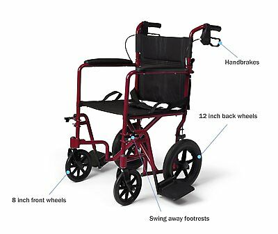 Lightweight Wheelchair  Transport Adult Folding with Handbrakes, Red by MEDLINE
