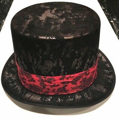 c23512958a7d Deluxe GOTHIC TOP HAT Black Red Band Steam Punk Magic Magician Adult Goth  Rock