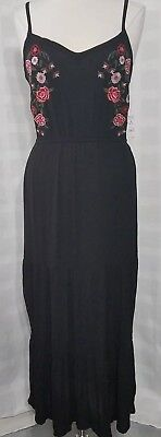 af3b6e0bf925 Womens Embroidered Maxi Dress Black Time and Tru Sz S (4-6)