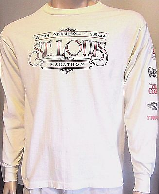 True Vtg 1984 Hef-T, 13Th Annual 1984 St. Louis Marathon Thin T-Shirt Med/lg Run