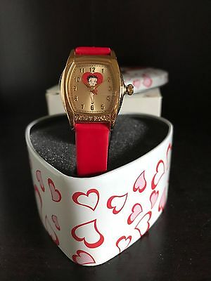 BETTY BOOP WATCH IN HEART TIN-AVON-NEW-VINTAGE Red leather band NIB Anniversary