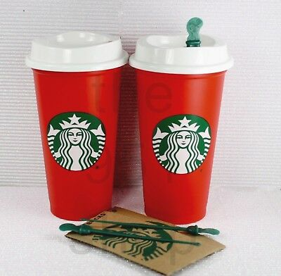 2 Starbucks Red Reusable 16oz Traveler Drinking Cup with Drink Discount BPA Free