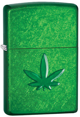 "Zippo Pipe Lighter ""3D Marijuana Leaf"" No 29662 on meadow green finish - New"